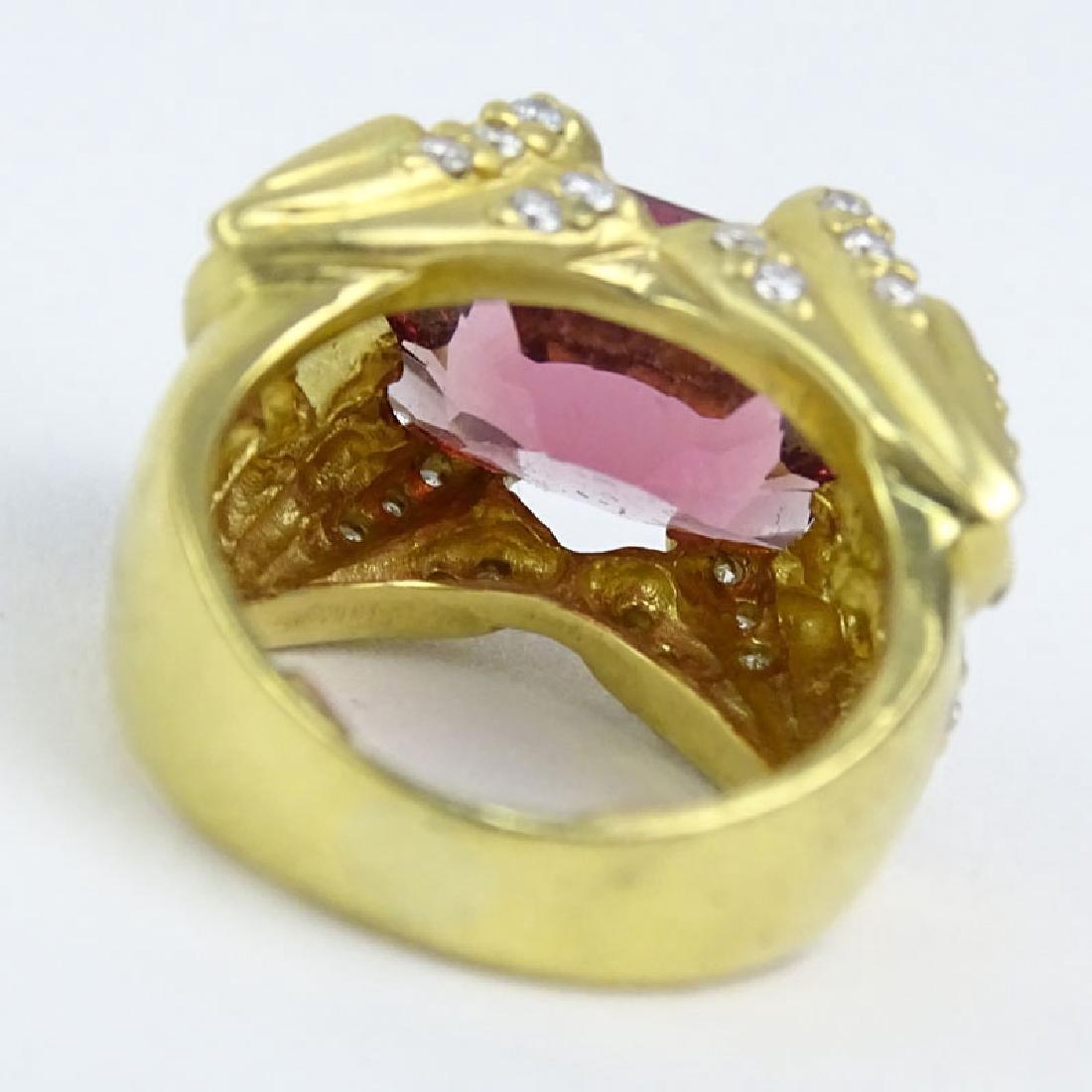Oval Cut Salmon Pink Tourmaline, Diamond and 14 Karat - 2