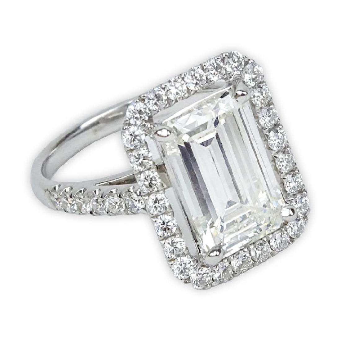 GIA Certified 3.70 Carat Emerald Cut Diamond and 18