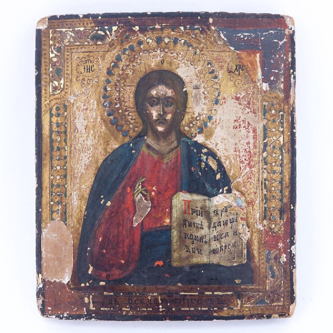 18/19th Century Hand Painted Russian Icon Featuring The