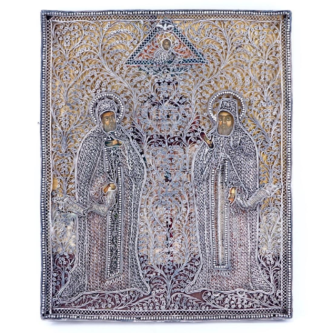 Russian Icon of Christ Flanked by Two Saints (Trinity),
