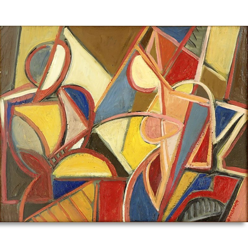 """Russian School Oil On Wood Panel """"Cubist Composition""""."""