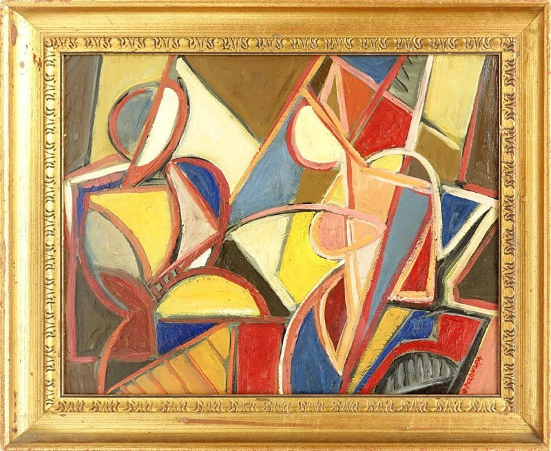 """Russian School Oil On Wood Panel """"Cubist Composition"""". - 2"""