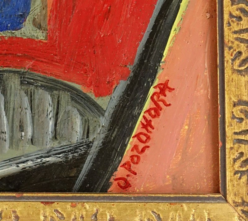 """Russian School Oil On Wood Panel """"Cubist Composition"""". - 3"""
