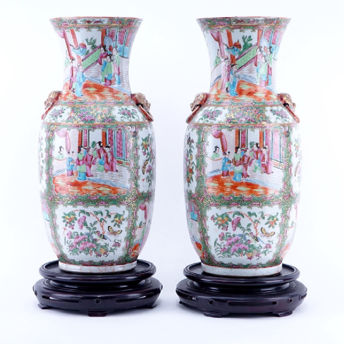Large Pair of Antique Rose Medallion Porcelain Vases