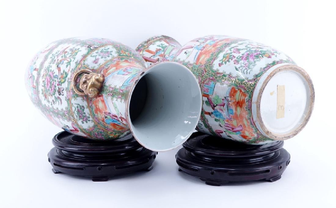 Large Pair of Antique Rose Medallion Porcelain Vases - 2