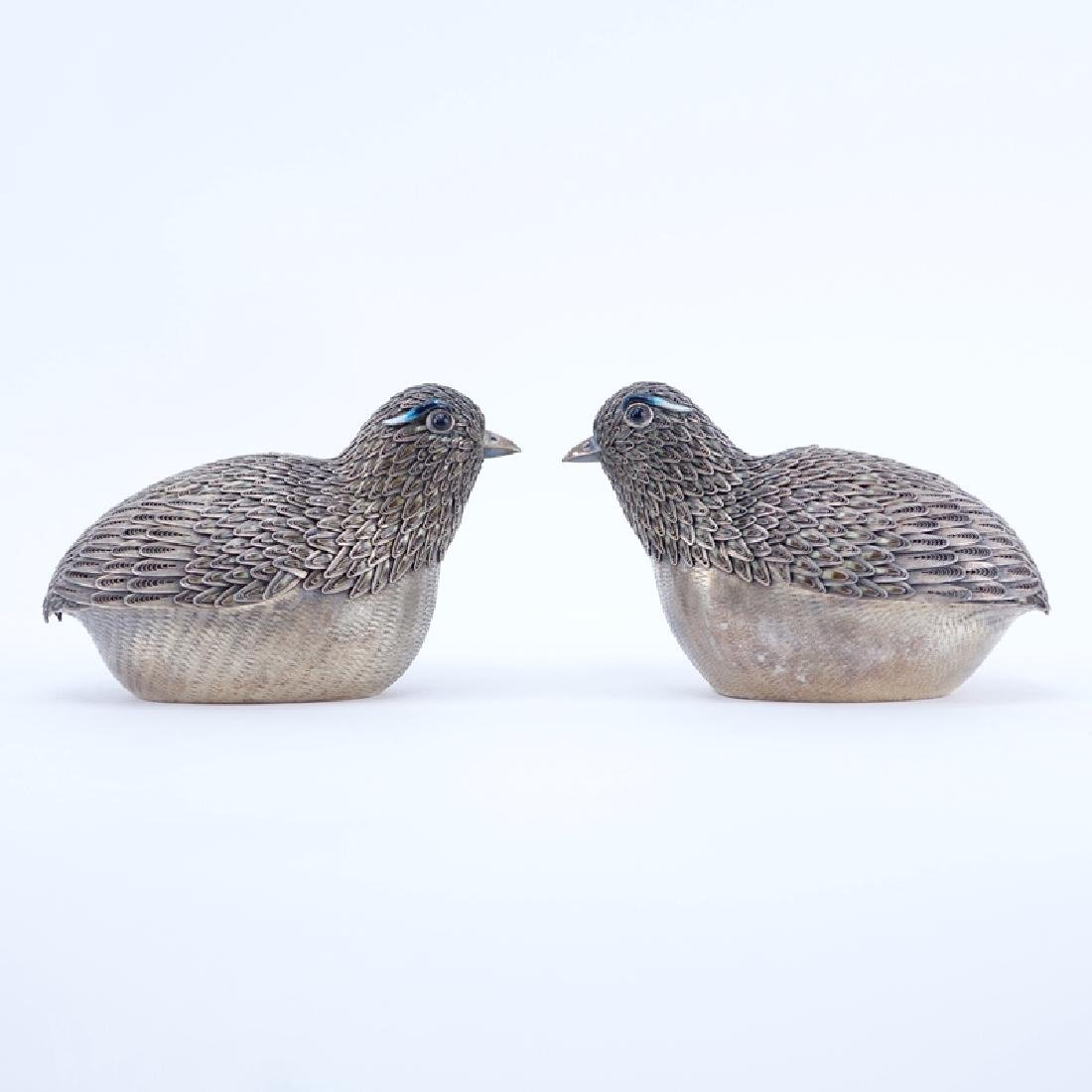 Pair of Chinese Silver Bird Trinket or Betel Nut Boxes.