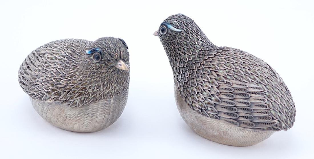 Pair of Chinese Silver Bird Trinket or Betel Nut Boxes. - 2