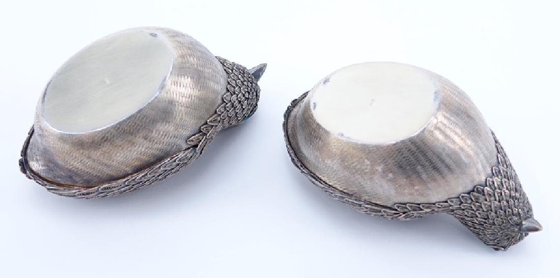 Pair of Chinese Silver Bird Trinket or Betel Nut Boxes. - 4