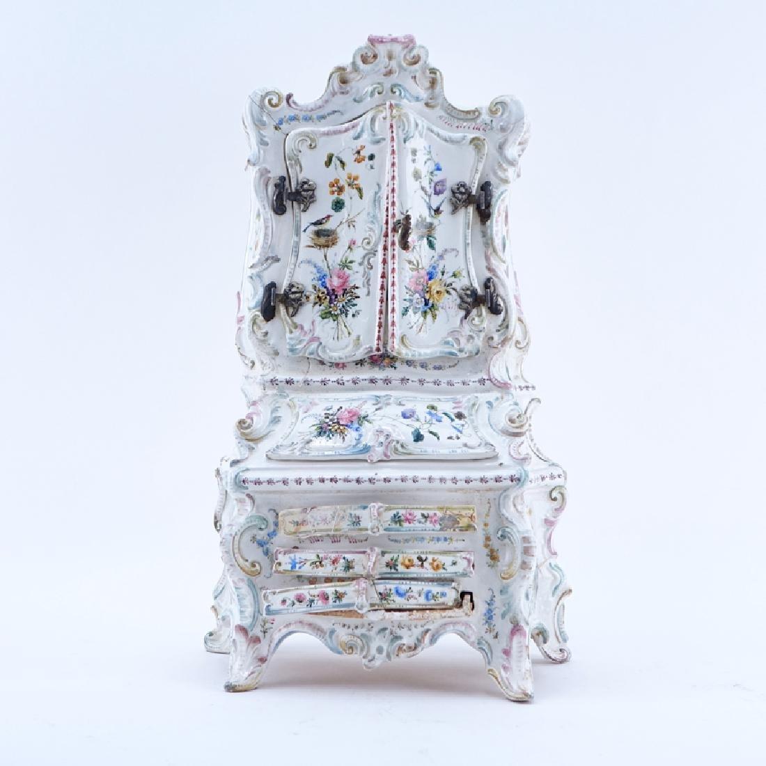 18/19th Century Italian Faience Tabletop Armoire.