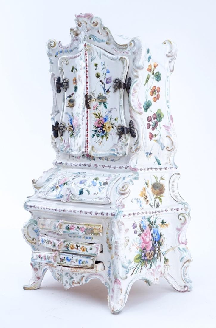 18/19th Century Italian Faience Tabletop Armoire. - 2