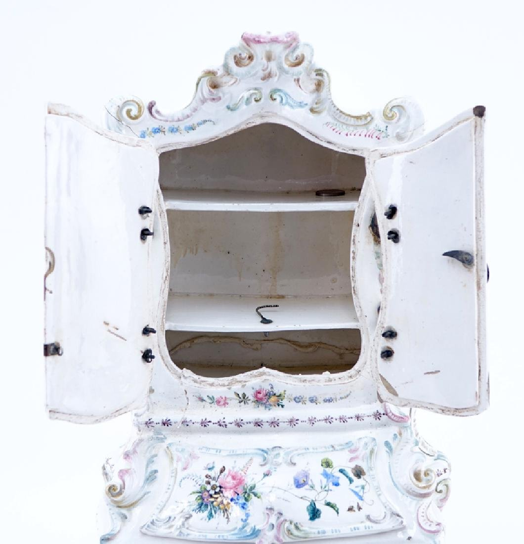 18/19th Century Italian Faience Tabletop Armoire. - 4