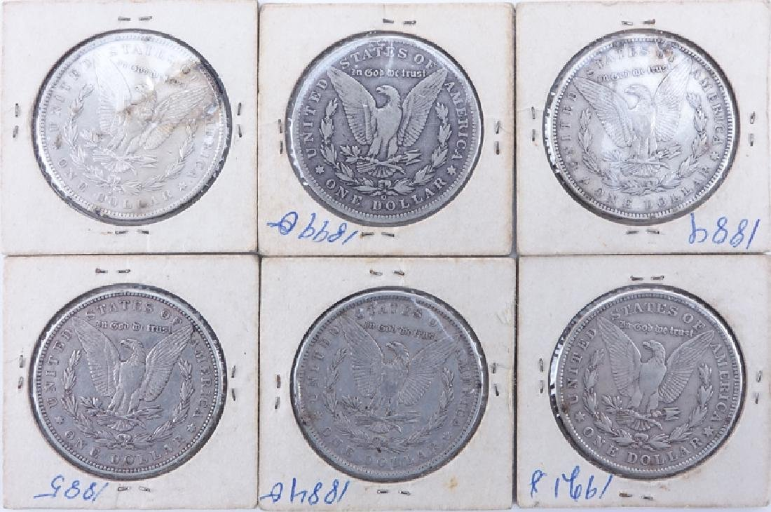 Collection of Six (6) Morgan Silver Dollars. Dates - 2