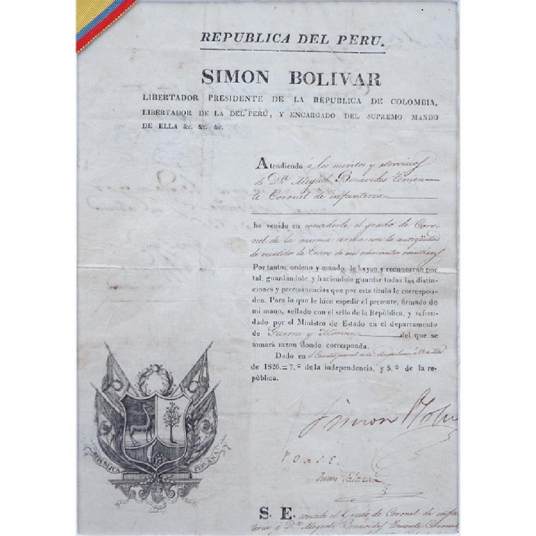 Simon Bolivar (1783 - 1830) Document Signed as