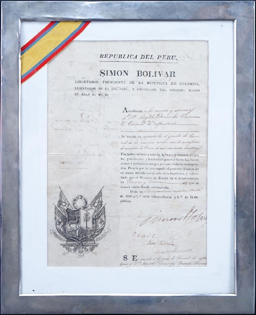Simon Bolivar (1783 - 1830) Document Signed as - 2