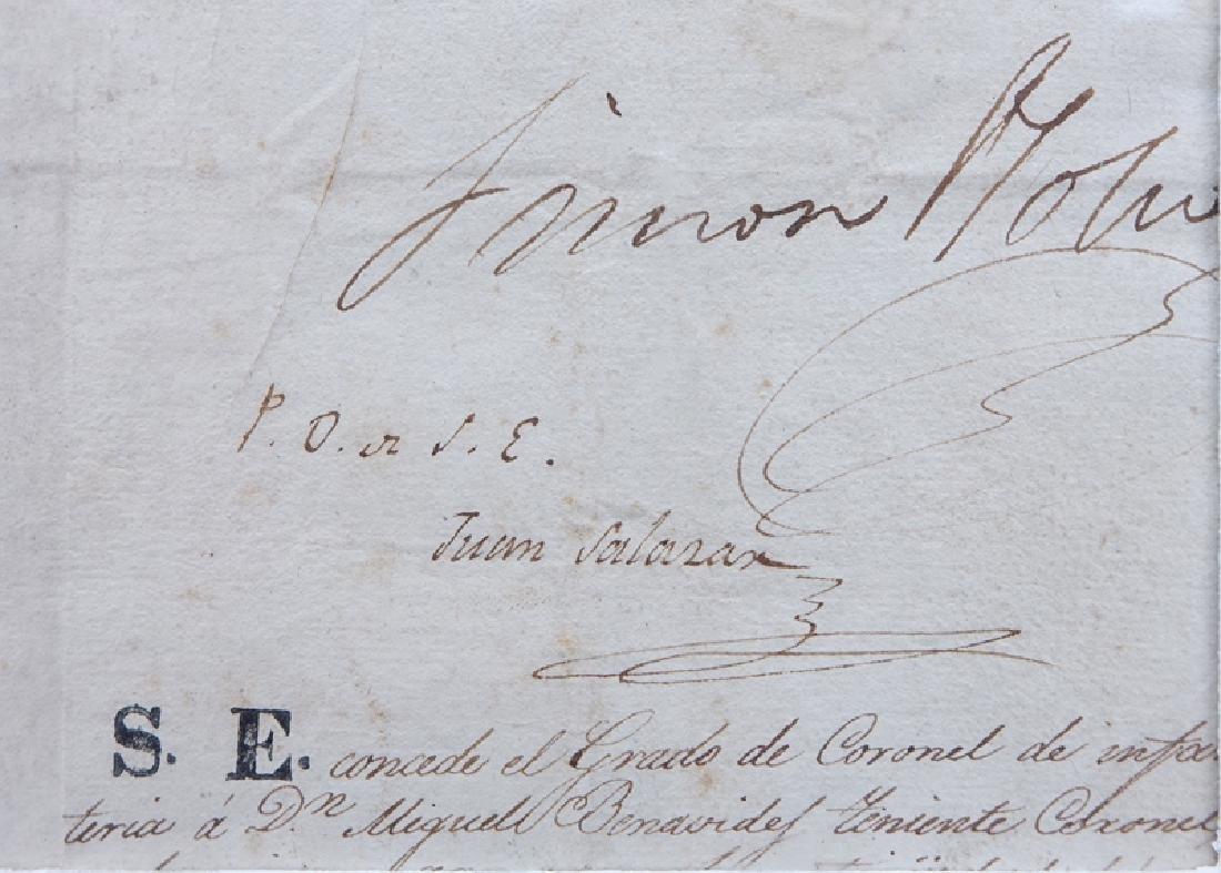 Simon Bolivar (1783 - 1830) Document Signed as - 3