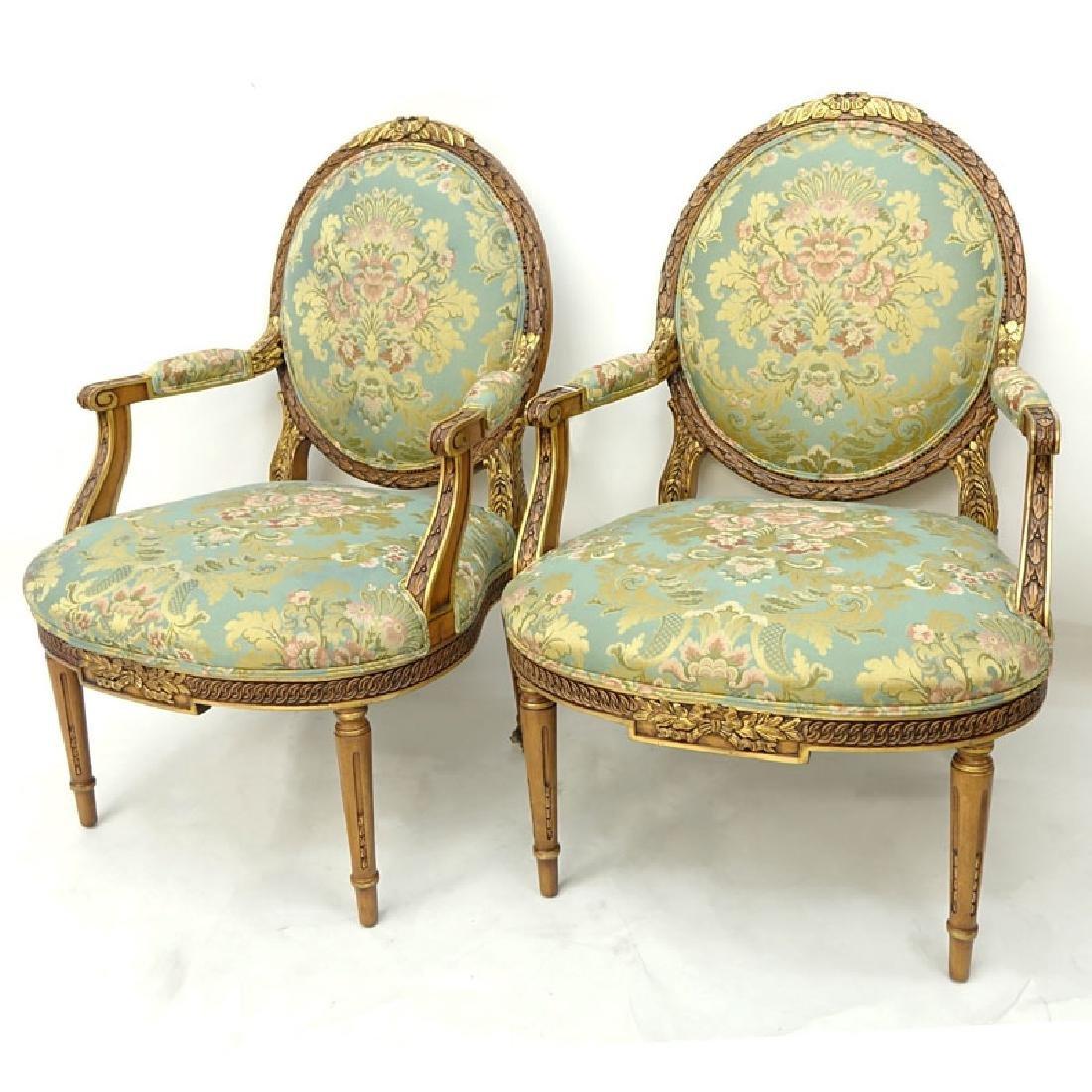 Pair of Karges Carved Parcel Gilt Wood Upholstered