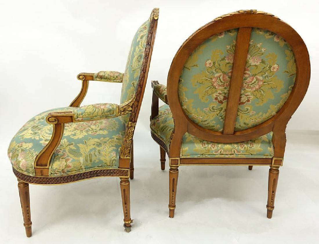 Pair of Karges Carved Parcel Gilt Wood Upholstered - 3