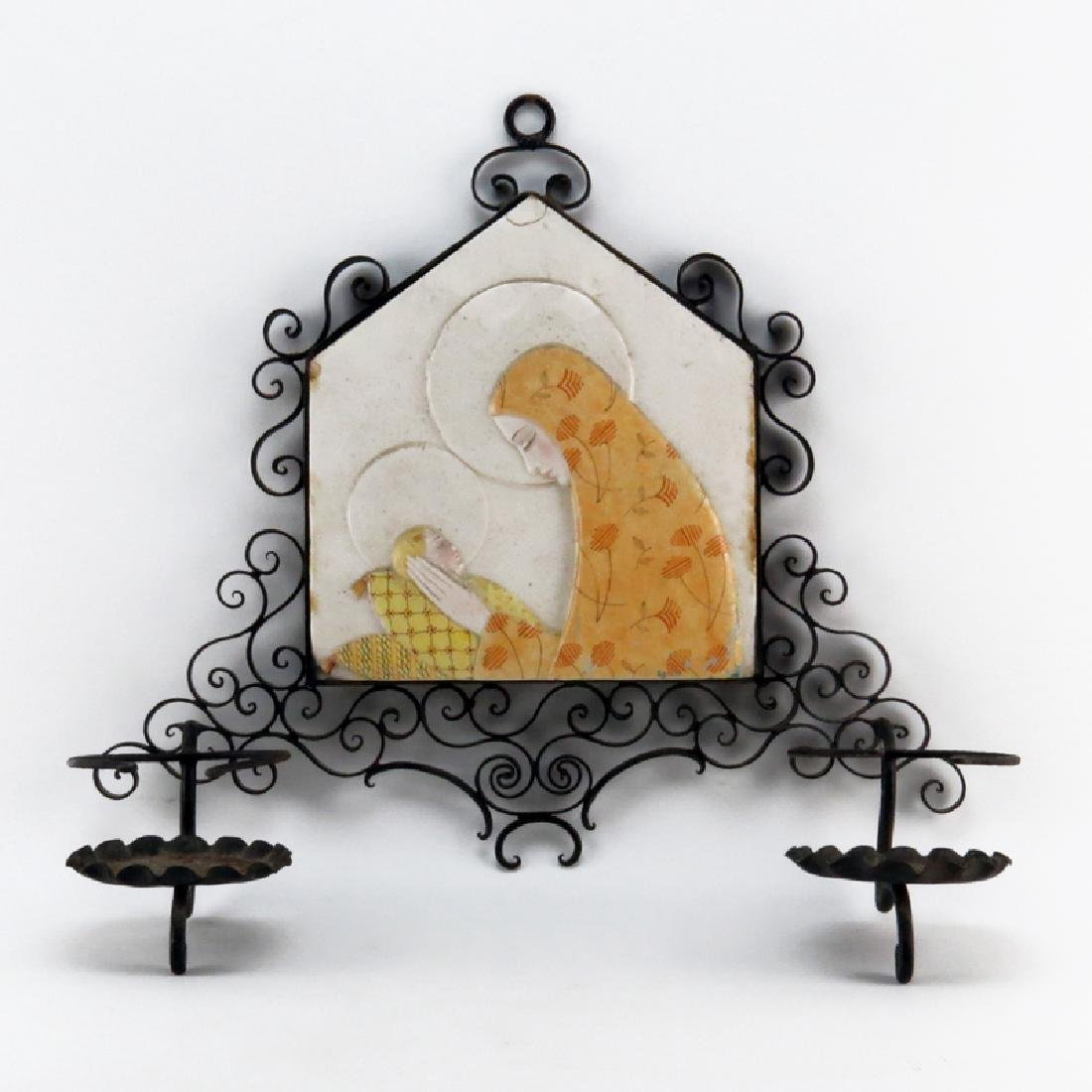Mid Century Italian Iron Sconce with Relief Pottery