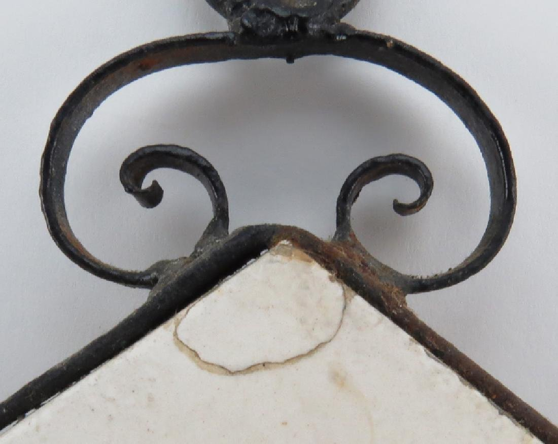 Mid Century Italian Iron Sconce with Relief Pottery - 5