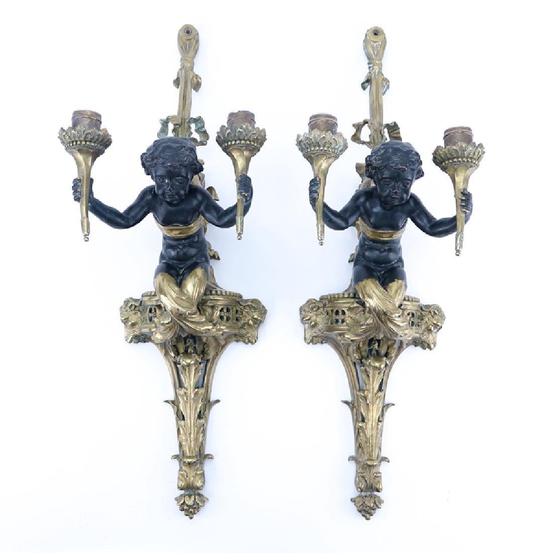 Pair of 19/20th Century Louis XVI Style Gilt Bronze