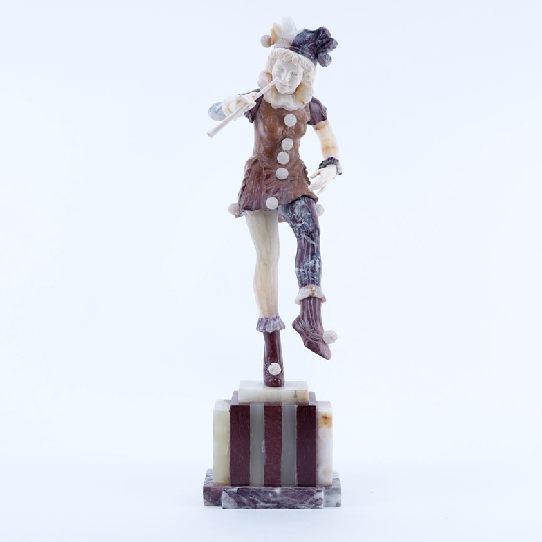 Antique Art Deco Marble, Onyx Harlequin Sculpture.