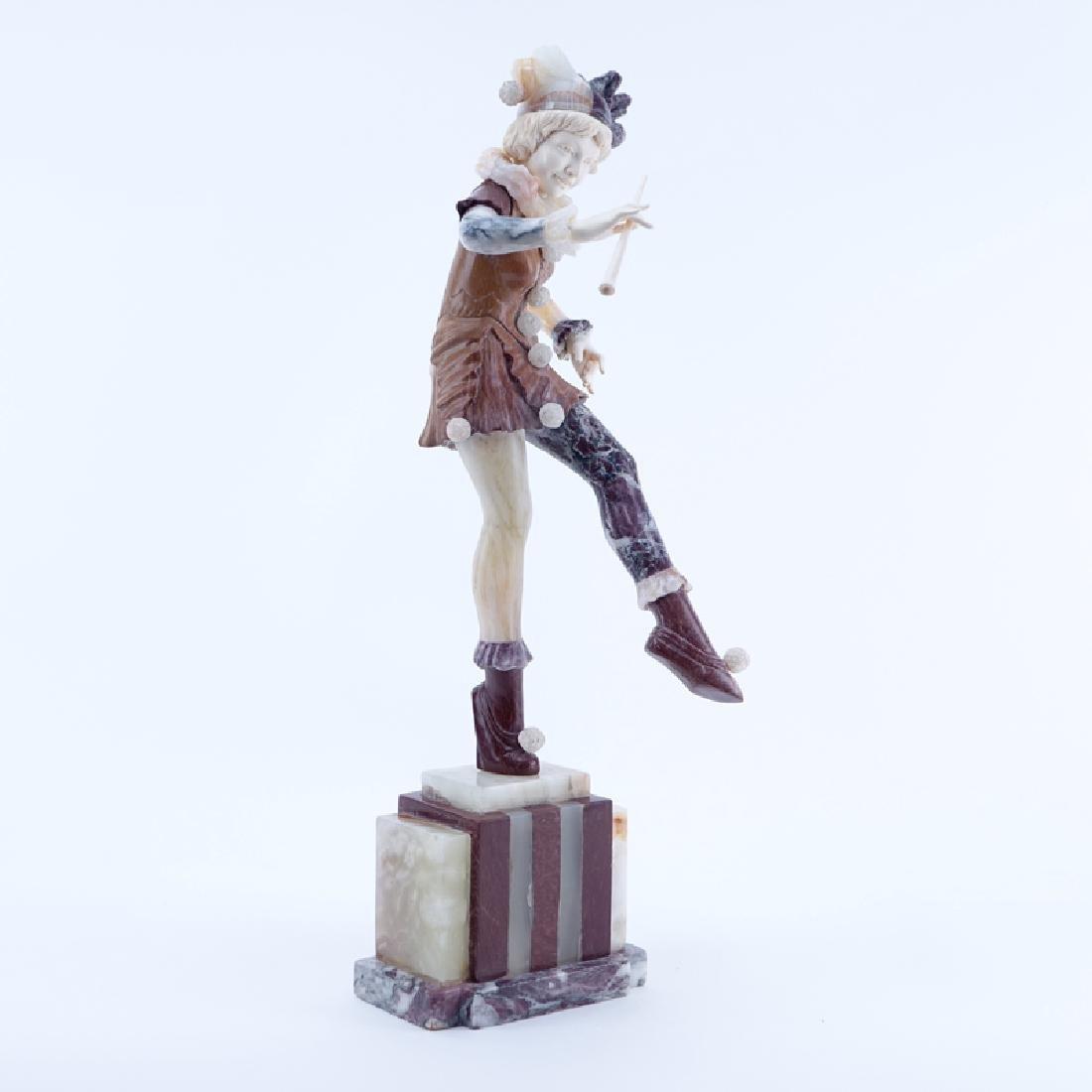 Antique Art Deco Marble, Onyx Harlequin Sculpture. - 2