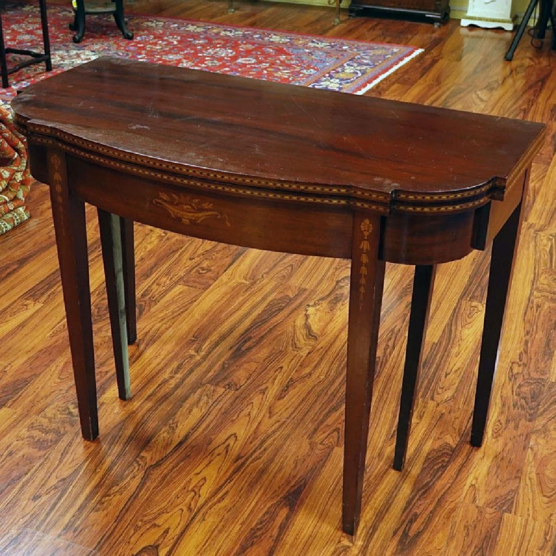20th Century Sheraton Style Inlaid Console/Expanding - 7