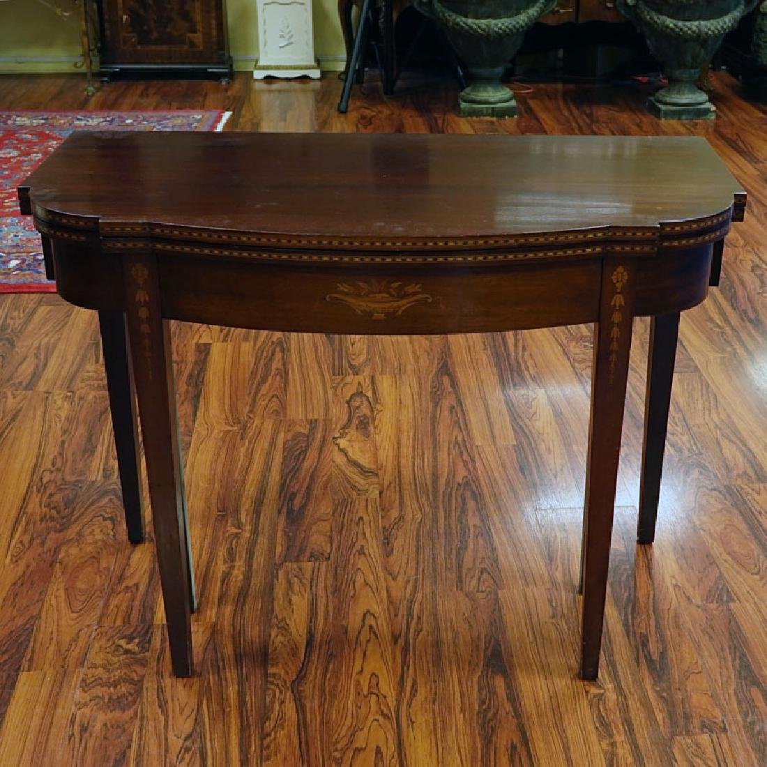20th Century Sheraton Style Inlaid Console/Expanding - 8
