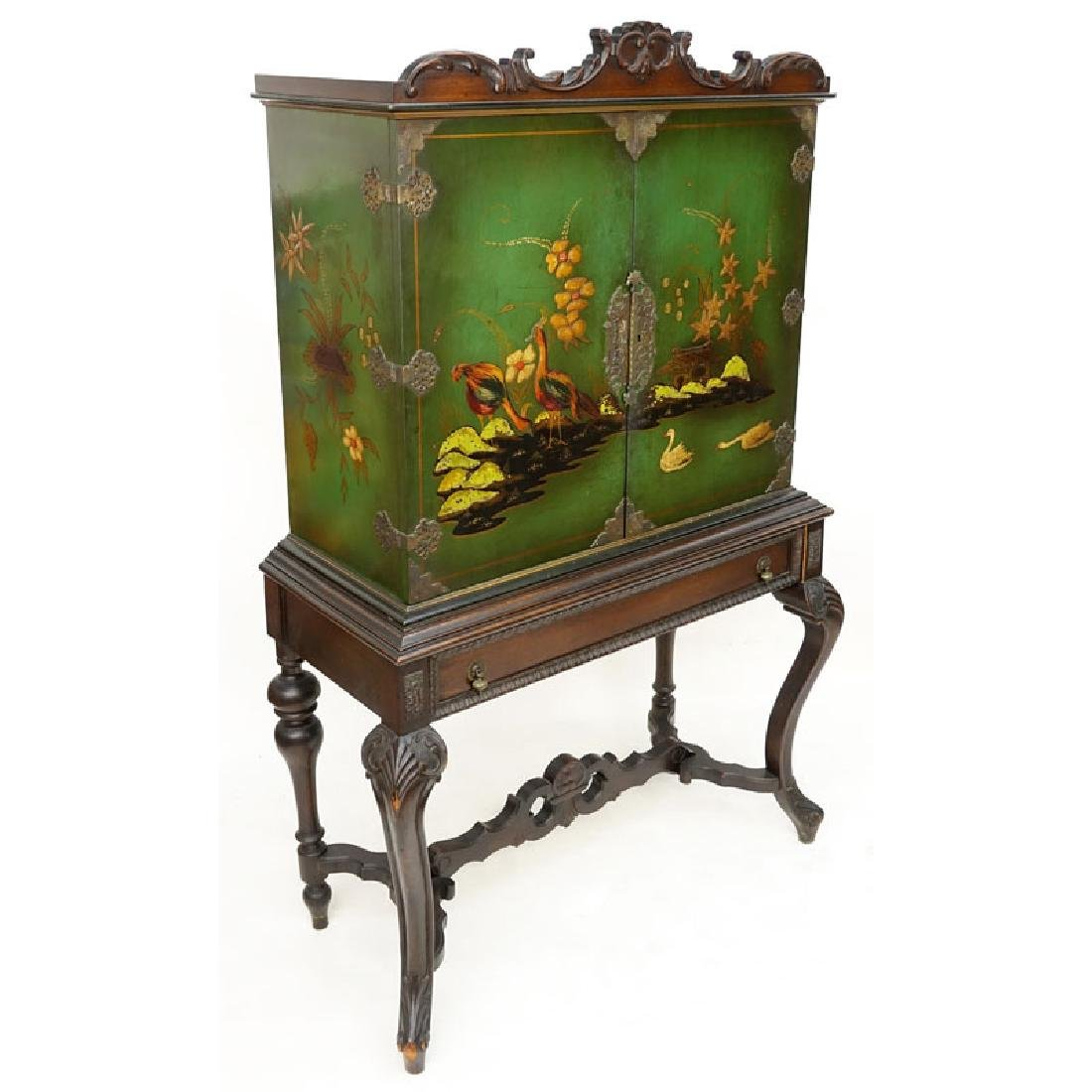Early 20th Century Queen Anne Style Lacquered Chest On
