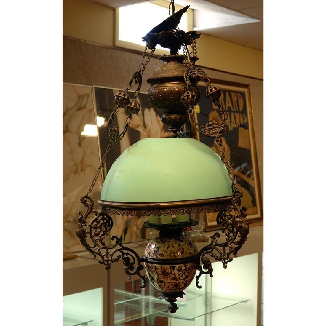 Victorian Spelter, Porcelain and Glass Chandelier.
