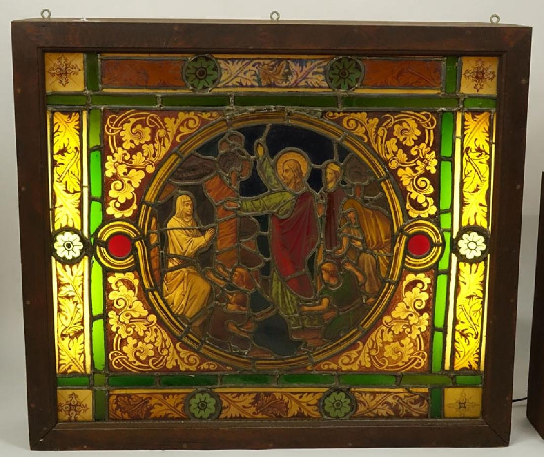 Antique German Hand Painted Stained Glass Window, - 2