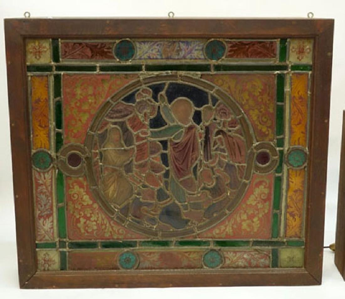 Antique German Hand Painted Stained Glass Window, - 4