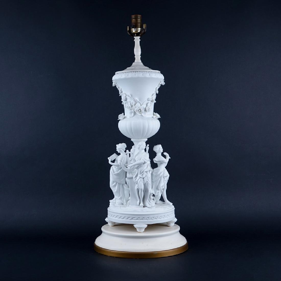 20th Century Sevres Style Bisque Figural Lamp.