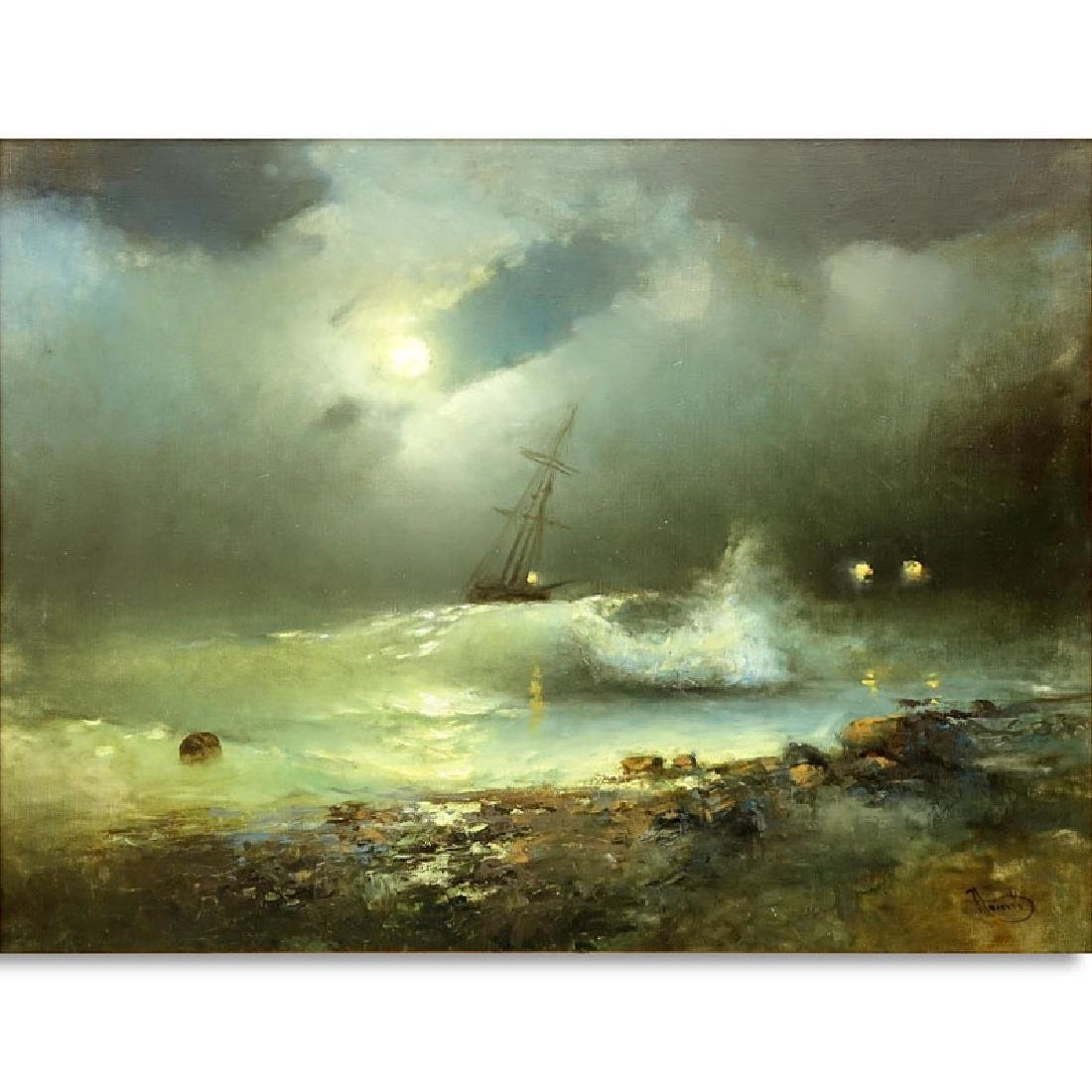 """20th Century Oil on Canvas """"Raging Sea's"""" Signed Lower"""