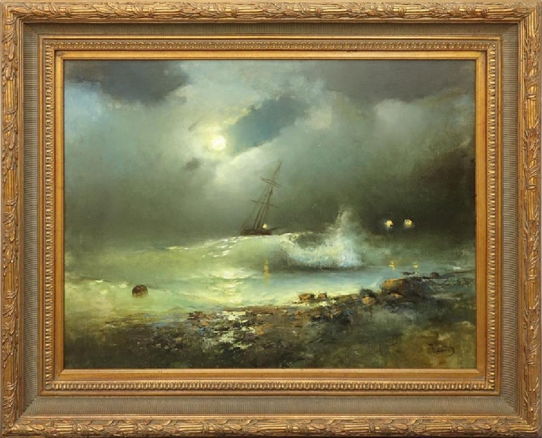 """20th Century Oil on Canvas """"Raging Sea's"""" Signed Lower - 2"""