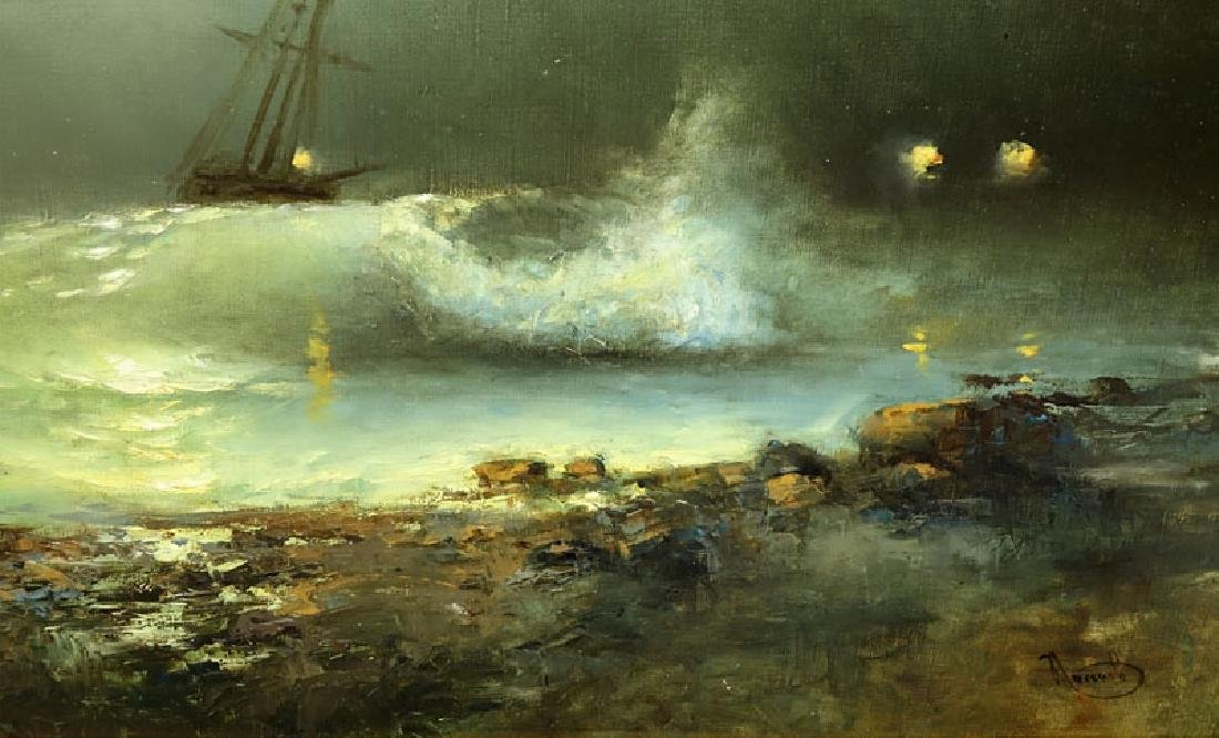 """20th Century Oil on Canvas """"Raging Sea's"""" Signed Lower - 4"""