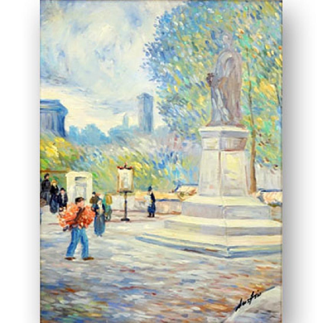 "20th Century Oil on Canvas ""Park Scene"" Signed Austin"
