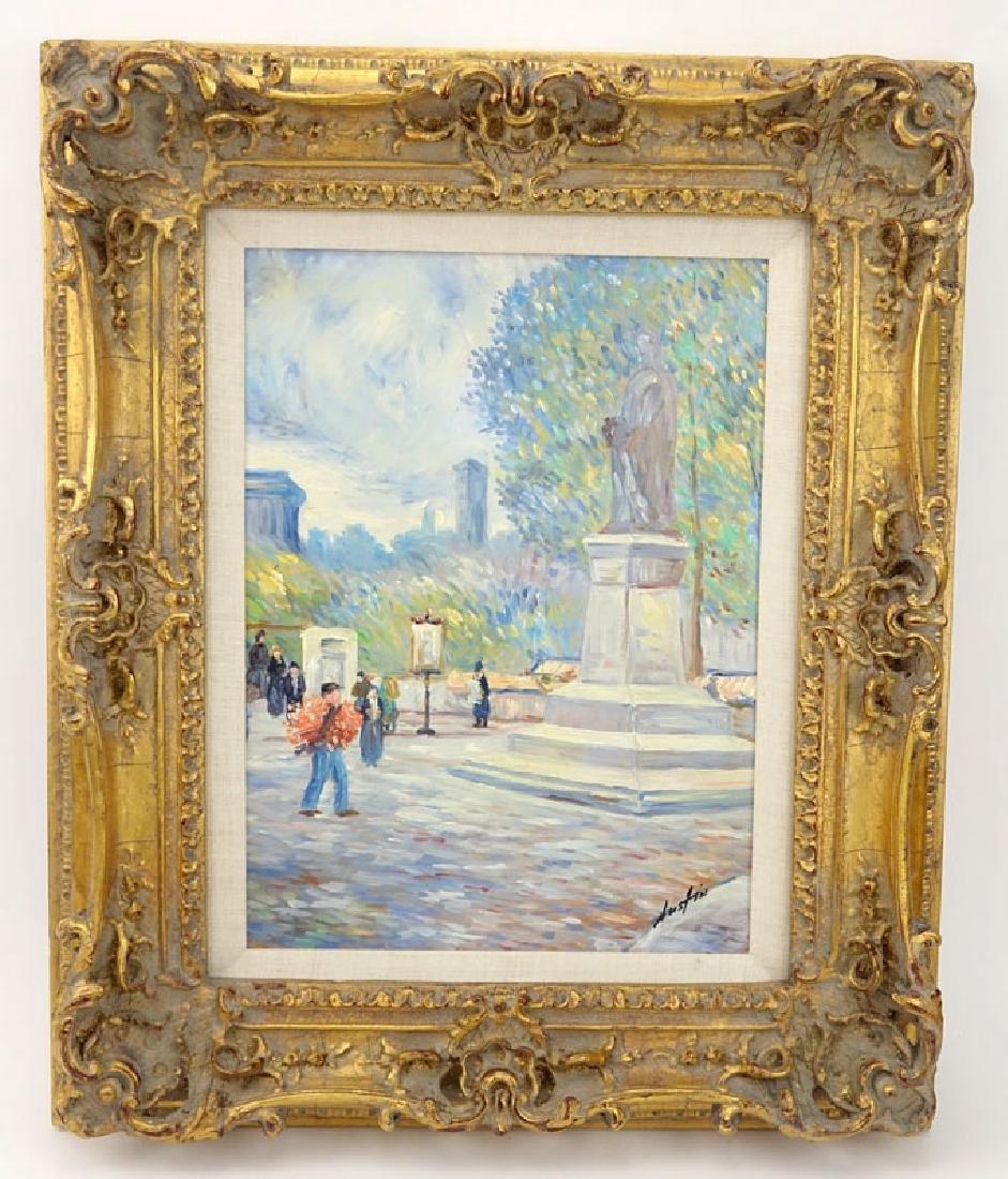 "20th Century Oil on Canvas ""Park Scene"" Signed Austin - 2"