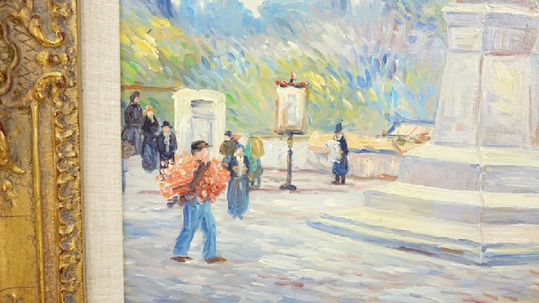 "20th Century Oil on Canvas ""Park Scene"" Signed Austin - 3"