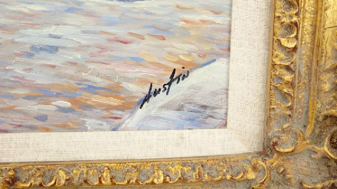 "20th Century Oil on Canvas ""Park Scene"" Signed Austin - 4"