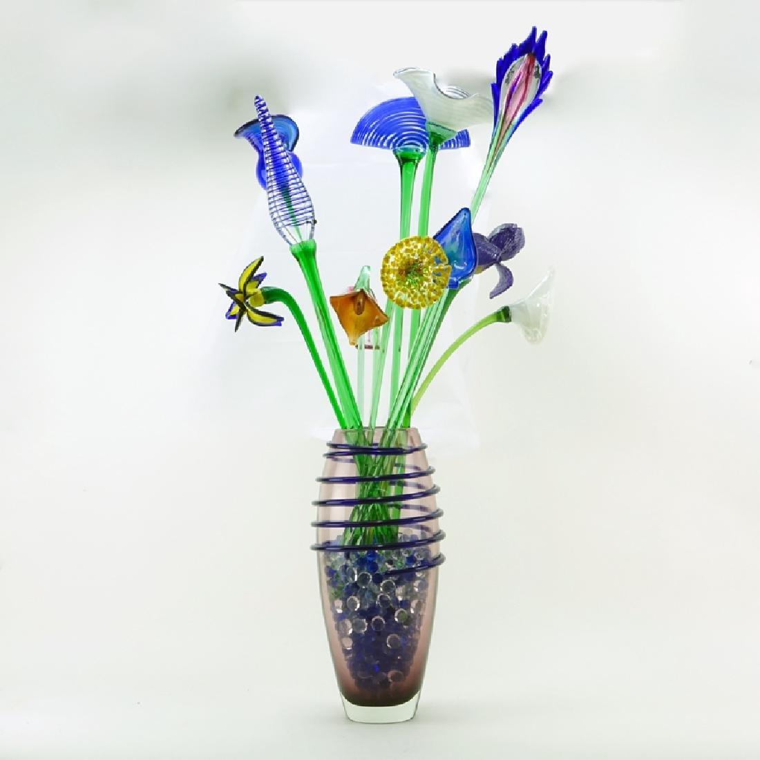 Mid Century Beranek Art Glass Bouquet of Flowers in