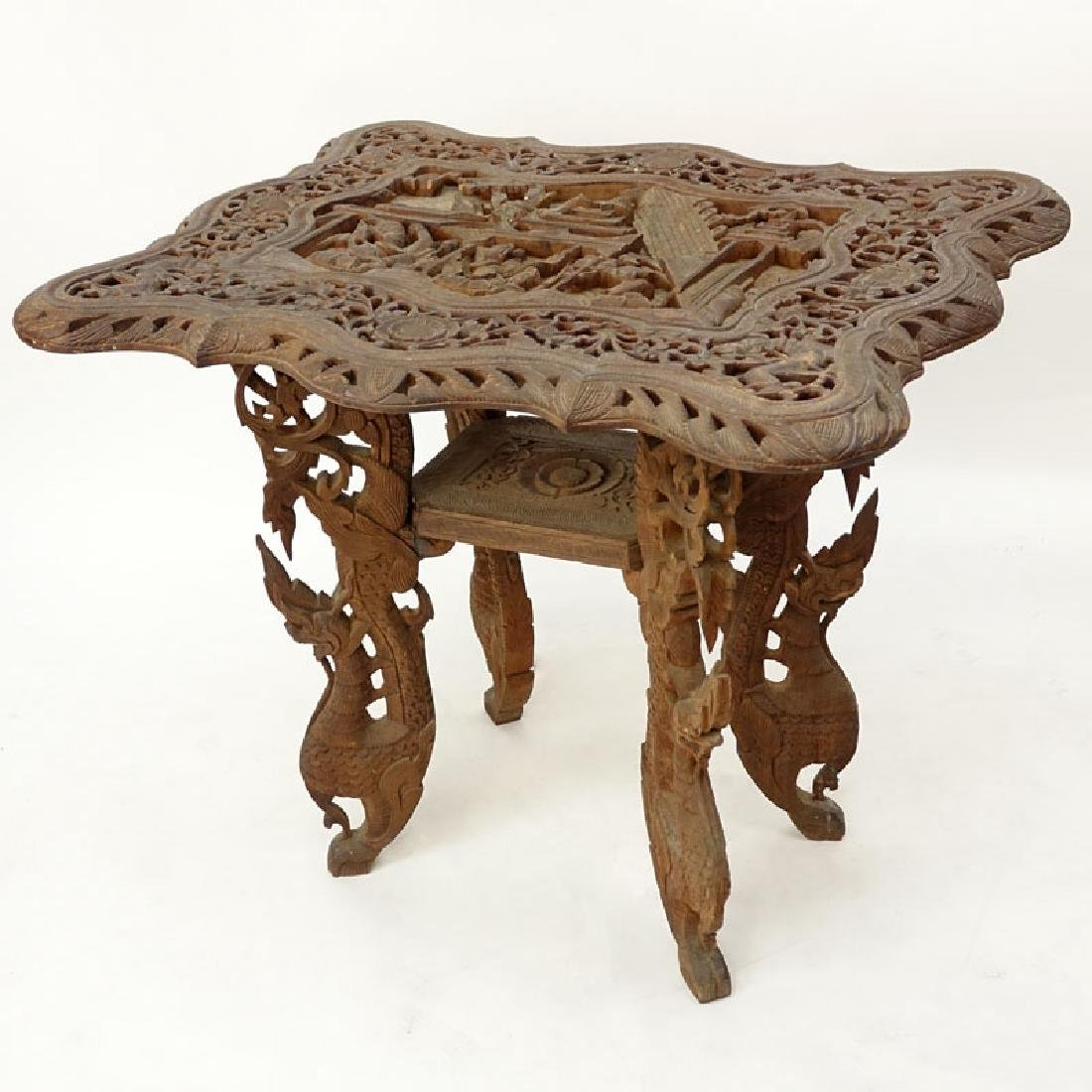 20th Century Thai Carved Teak Wood Table. Relief