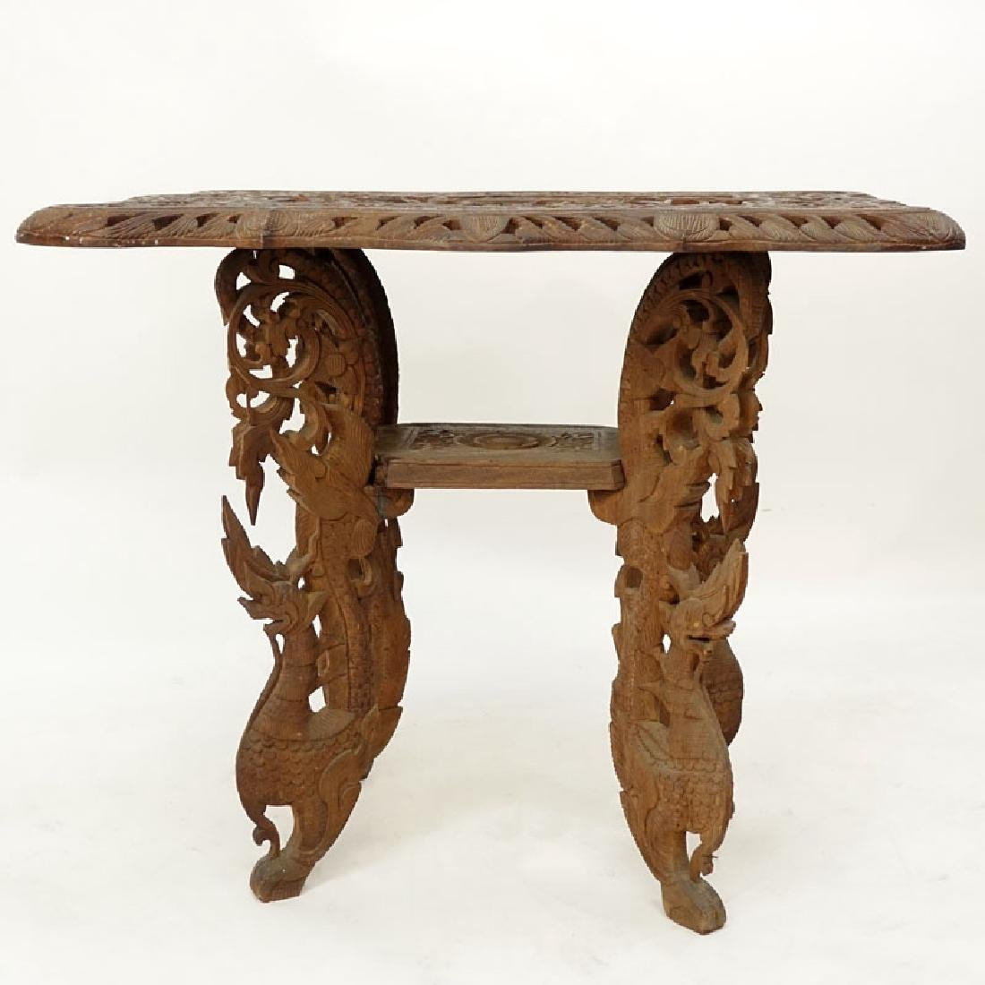 20th Century Thai Carved Teak Wood Table. Relief - 2