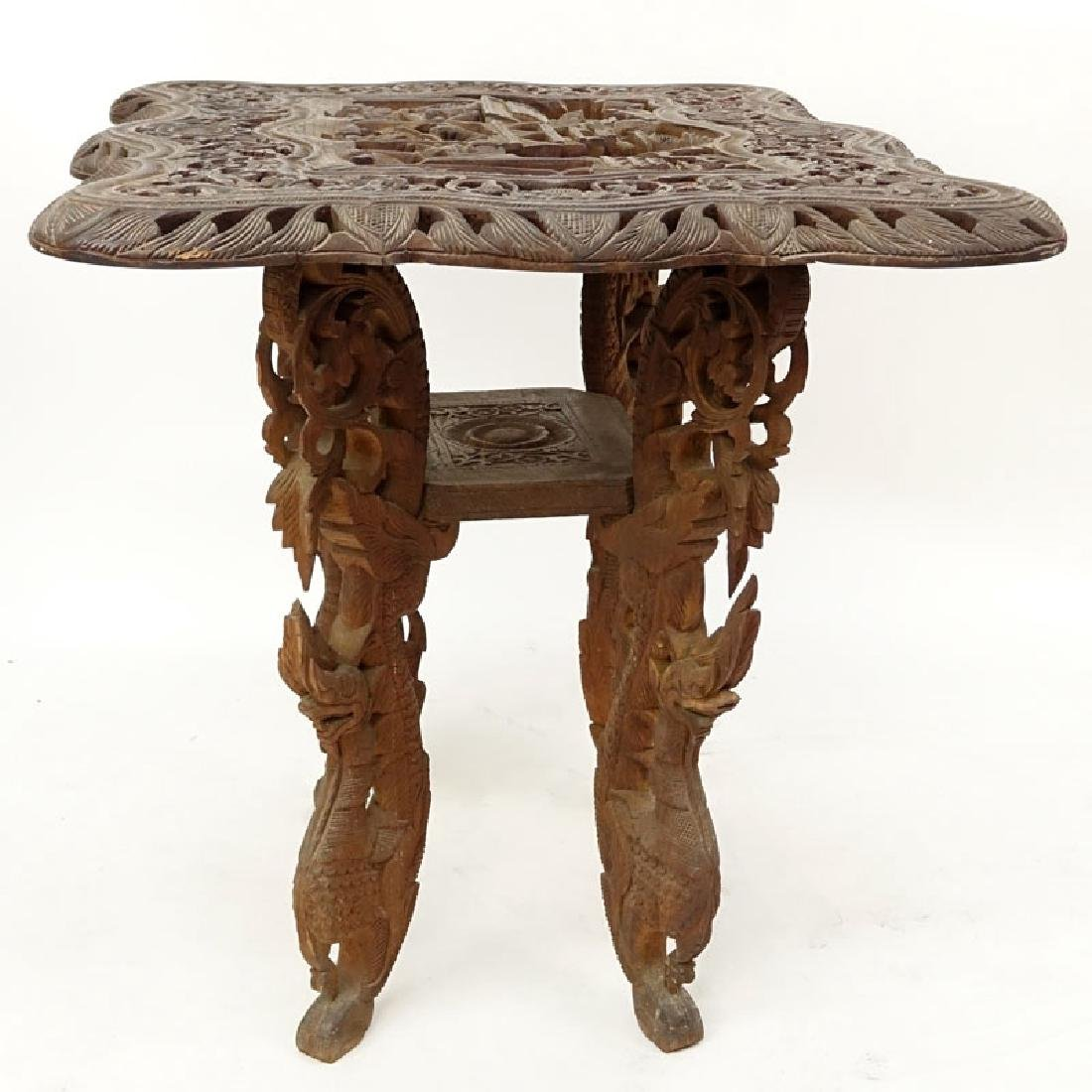 20th Century Thai Carved Teak Wood Table. Relief - 4