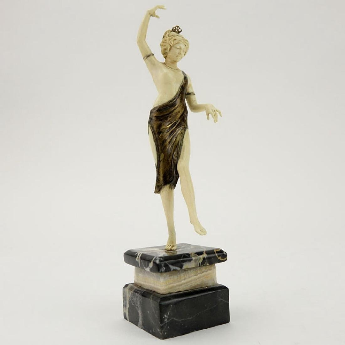 Art Deco Carved Ivory and Bronze Dancer with Tambourine