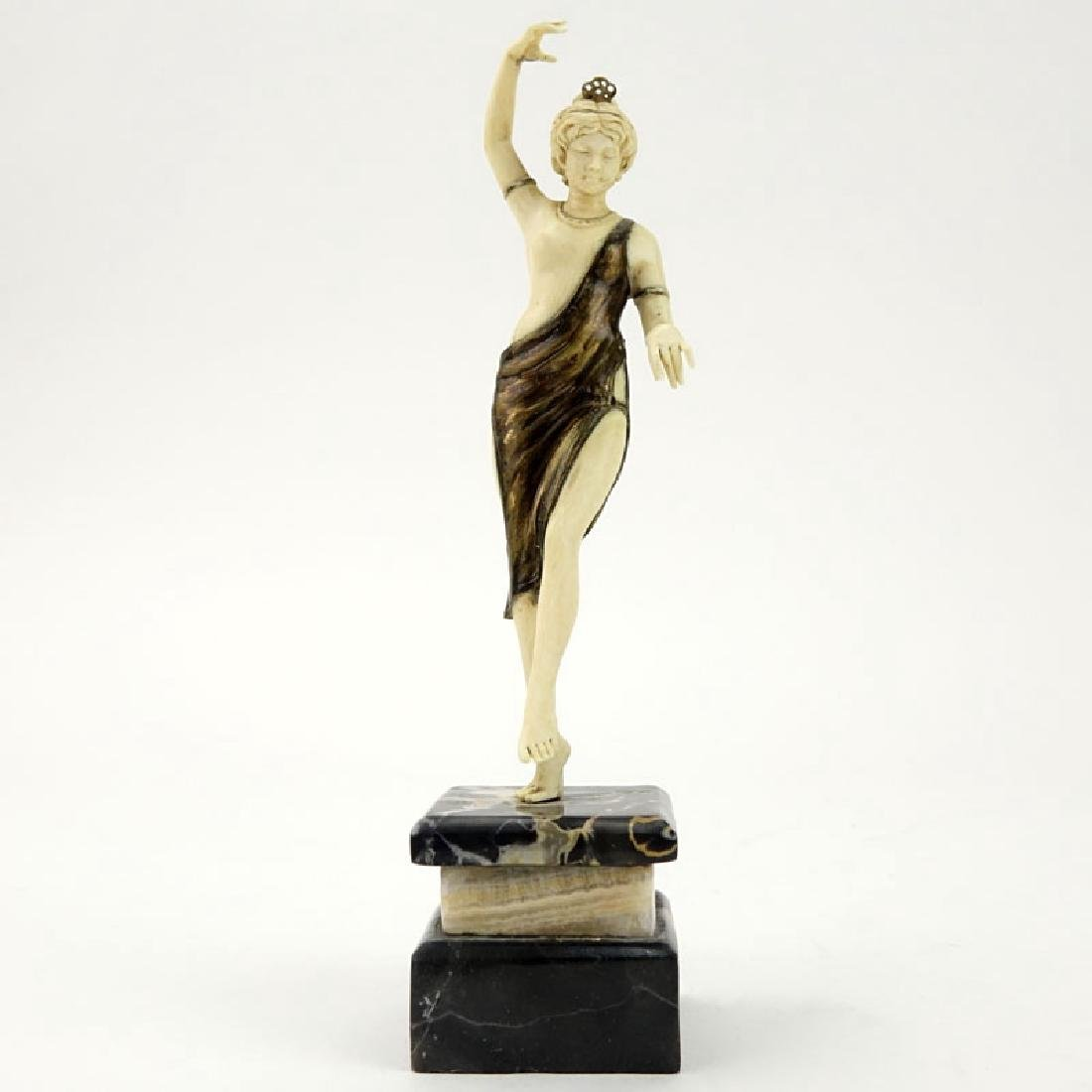 Art Deco Carved Ivory and Bronze Dancer with Tambourine - 2
