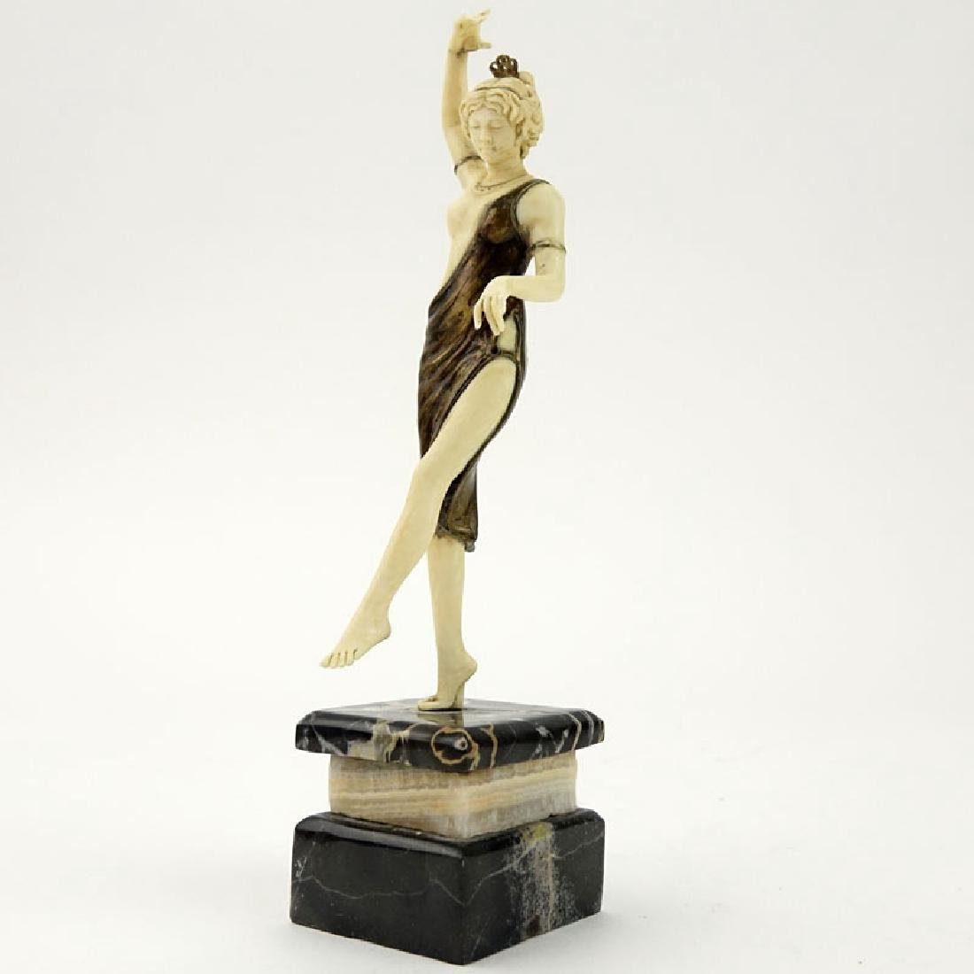 Art Deco Carved Ivory and Bronze Dancer with Tambourine - 3