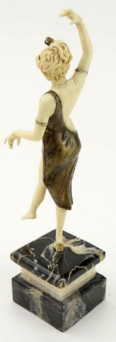 Art Deco Carved Ivory and Bronze Dancer with Tambourine - 5