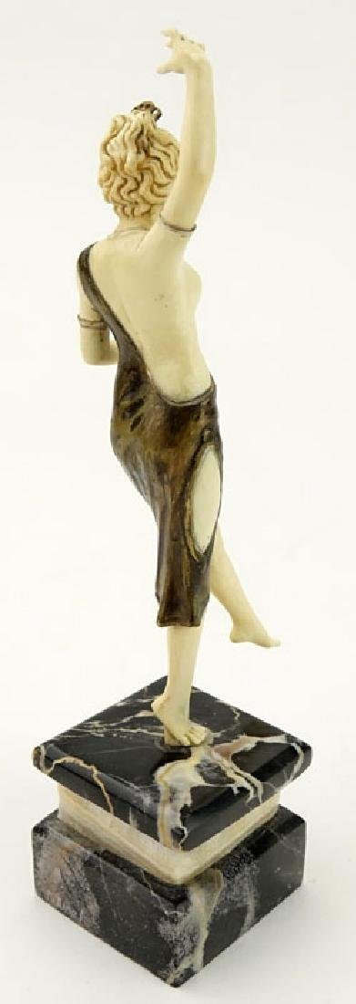 Art Deco Carved Ivory and Bronze Dancer with Tambourine - 6