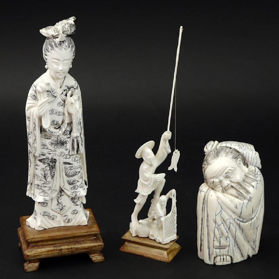Grouping of Three (3) Oriental Carved Ivory Figures.